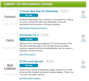 RetailMeNot Food Coupons